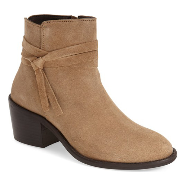 MIA cilantro ankle boot - A knotted wraparound cord and stacked heel intensify the...