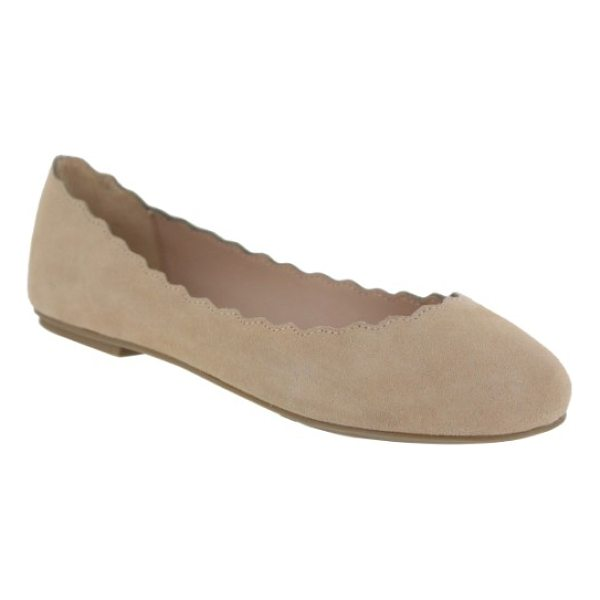 MIA gianna scalloped flat - A gently scalloped topline further softens a velvety suede...