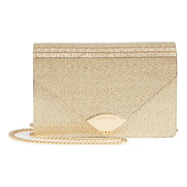 MICHAEL KORS medium barbara metallic envelope clutch - Add a little vintage Deco to your handbag collection with...