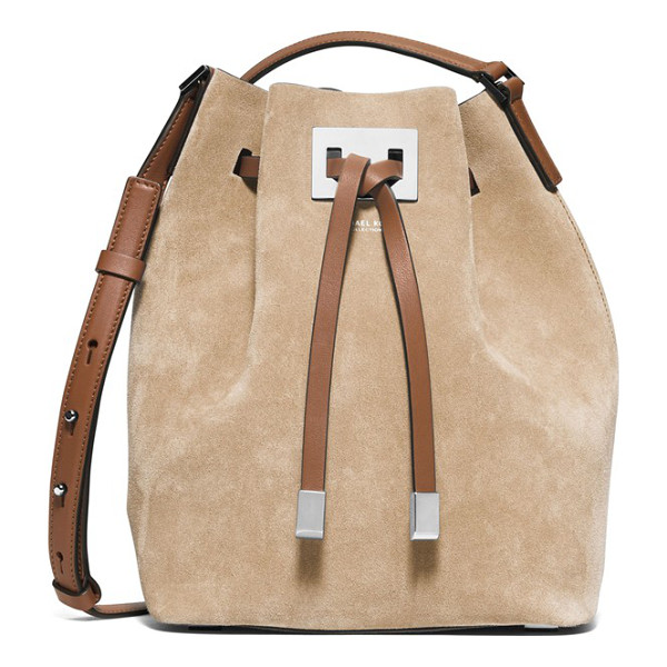 MICHAEL KORS Medium miranda bucket bag - Lush suede contrasts with the smooth leather trim and...