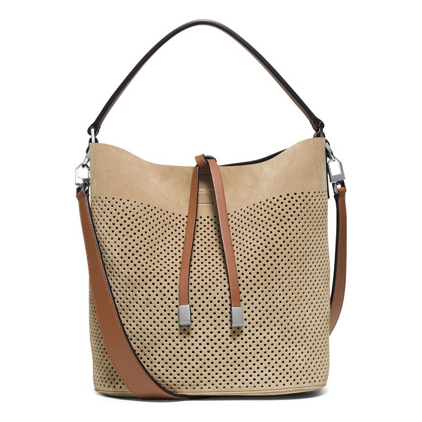 MICHAEL KORS Medium miranda perforated suede bucket bag - Buttery-soft suede looks just right for the upcoming season...