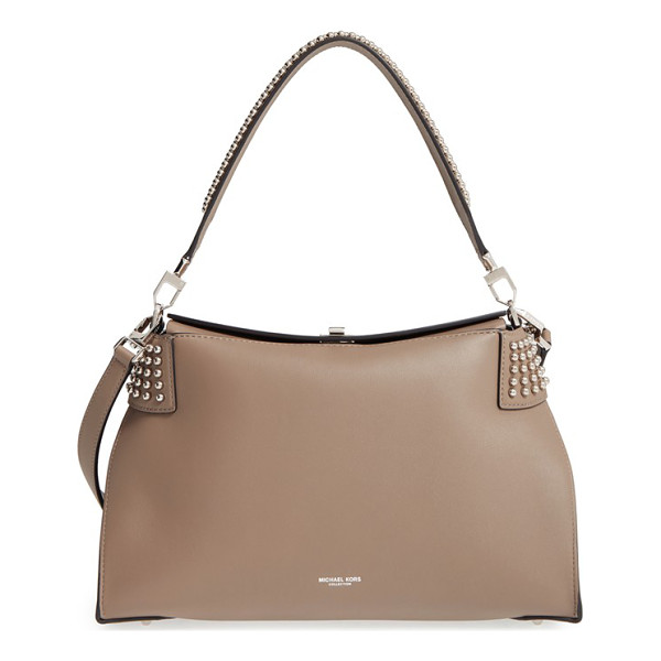 MICHAEL KORS 'miranda' studded leather shoulder bag - Crafted from rich calfskin leather, this sleek, sculptural...