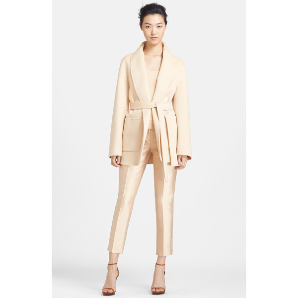 MICHAEL KORS plush melton wool jacket - A sophisticated shawl collar frames a neutrally hued jacket...