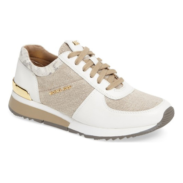MICHAEL MICHAEL KORS 'allie' sneaker - Panels of leather and a logo-embossed heel plate offer a