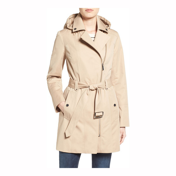MICHAEL MICHAEL KORS asymmetrical zip front hooded trench coat - A gilded asymmetrical zipper adds off-kilter edge to this...