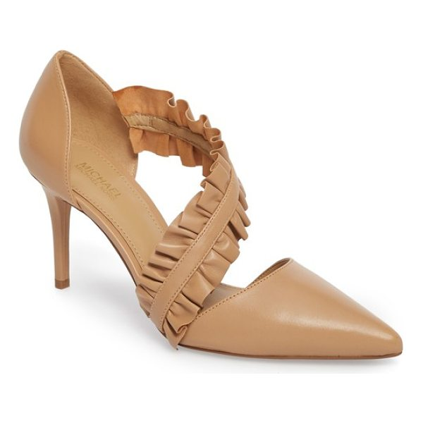 MICHAEL MICHAEL KORS bella ruffle pump - Double ruffles frill the angled arch strap of a pointed-toe...