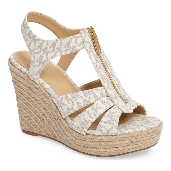 MICHAEL MICHAEL KORS berkley platform wedge - A zippered T-strap adds a clever finish to a classic...