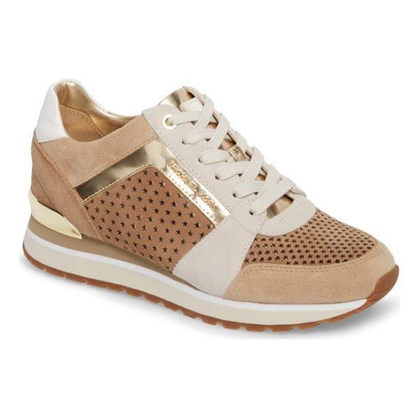MICHAEL MICHAEL KORS billie perforated sneaker - Mixed finishes and oversize perforations add sporty appeal...