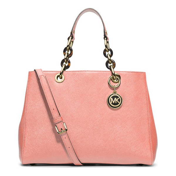 MICHAEL MICHAEL KORS Cynthia saffiano leather satchel - Gleaming, logo-embossed hardware and mixed-link chain...