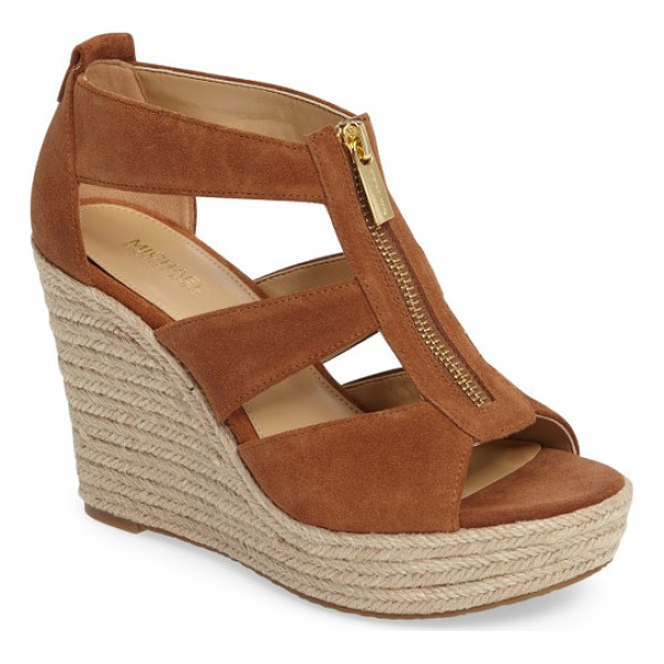 MICHAEL MICHAEL KORS 'damita' wedge sandal - A logo-etched zipper skims the breezy straps of a woven