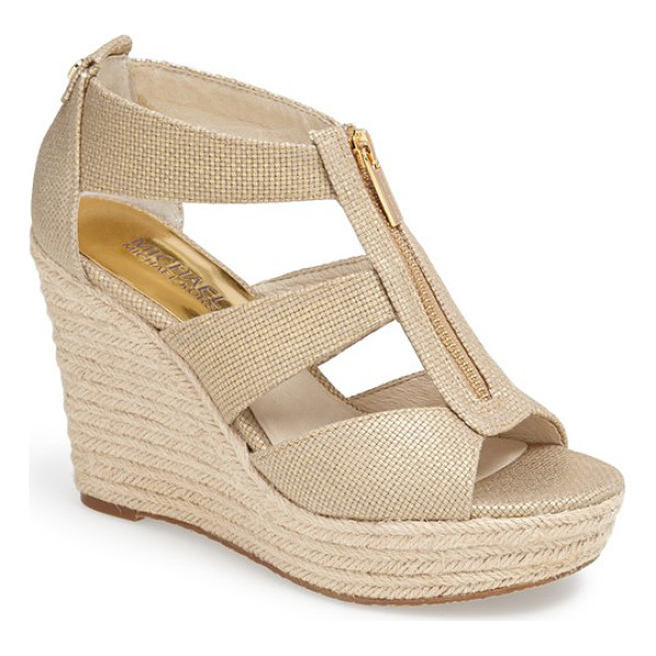 MICHAEL MICHAEL KORS damita wedge sandal - A logo-etched zipper skims the breezy straps of a woven...