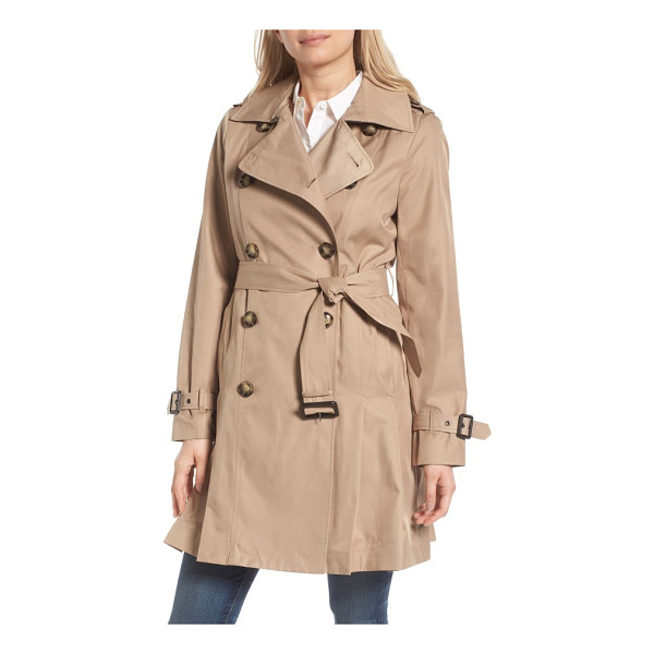 MICHAEL MICHAEL KORS double breasted skirted trench coat - Belted at the waist and flared for a skirted finish, this...