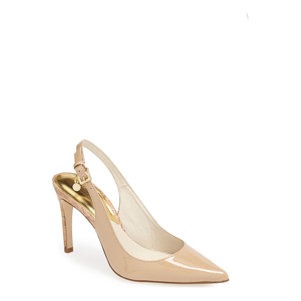 MICHAEL MICHAEL KORS elisa slingback pointy toe pump - A slender cork heel adds organic interest to a glossy...