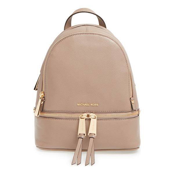 MICHAEL MICHAEL KORS Extra small rhea zip leather backpack - Gleaming exposed zippers trace the compact silhouette of a...