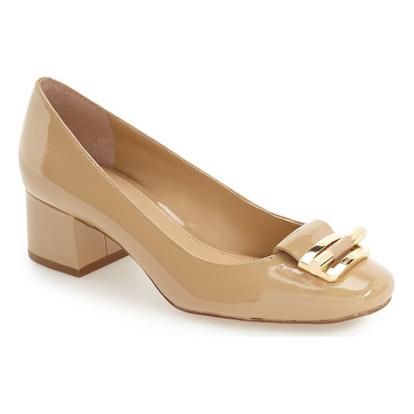 MICHAEL MICHAEL KORS 'gloria' square toe pump - This on-trend square-toe pump features a decorative logo