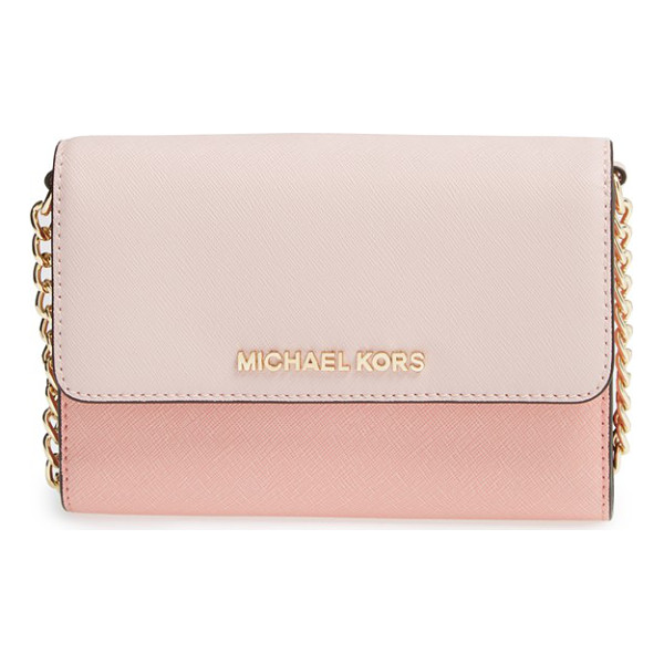 MICHAEL MICHAEL KORS Jet set travel saffiano leather crossbody bag - Raised logo letters grace the scratch-resistant Saffiano...