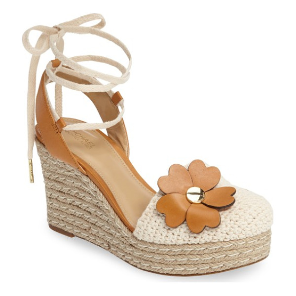 MICHAEL MICHAEL KORS kit crochet platform wedge - A gleaming logo medallion anchors a cluster of heart-shaped