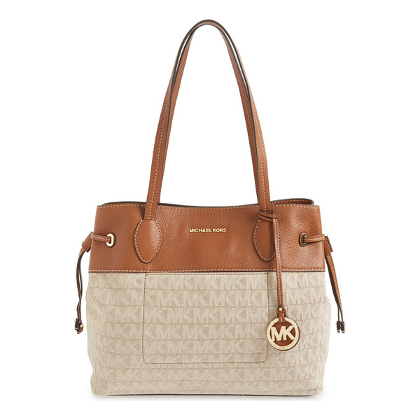 MICHAEL MICHAEL KORS Large marina drawstring logo tote - Touches of goldtone logo hardware gleam against the...