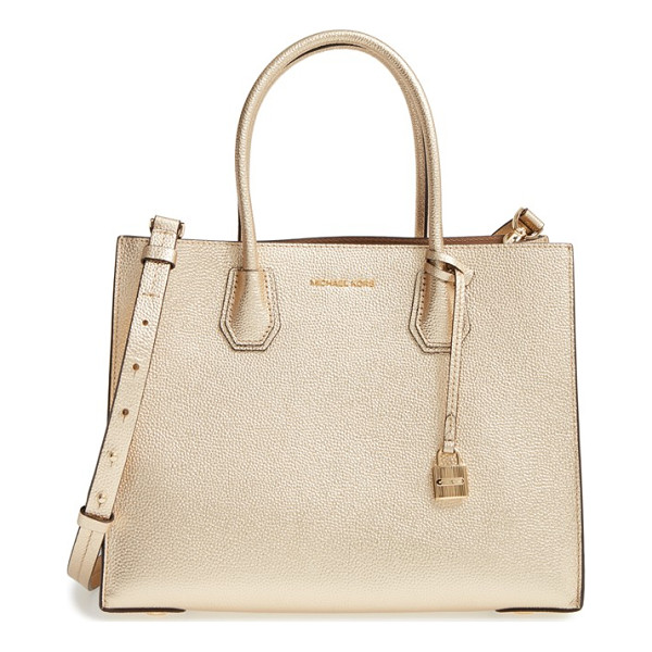 MICHAEL MICHAEL KORS large mercer metallic leather tote - Shine this season with a pale-gold, pebbled-leather tote