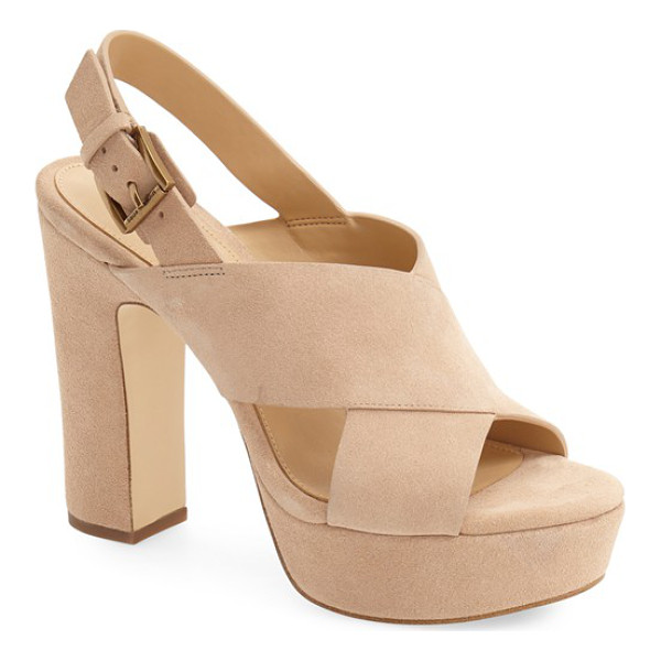 MICHAEL MICHAEL KORS marina slingback platform sandal - Wide leather straps crisscross at the instep of this...