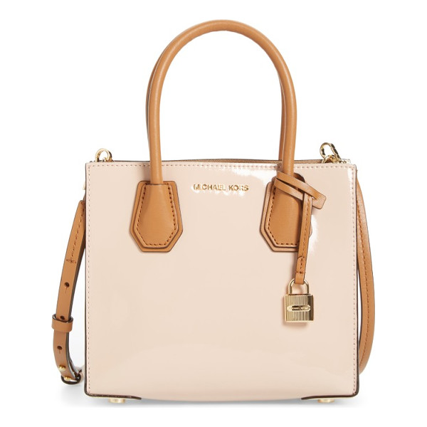 MICHAEL MICHAEL KORS medium mercer leather messenger tote - This delicately color-blocked messenger tote is made with a...