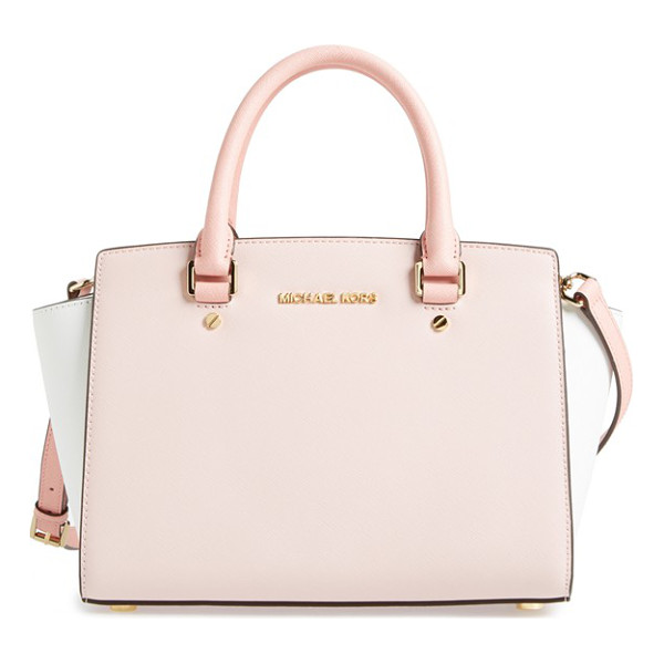 MICHAEL MICHAEL KORS Medium selma tricolor leather satchel - A flared-gusset silhouette and refined color blocking lend...