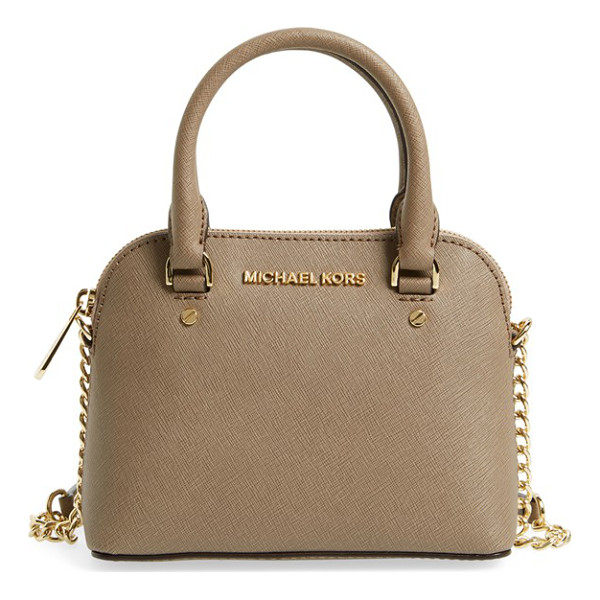 MICHAEL MICHAEL KORS Extra small cindy leather crossbody bag - Gleaming golden hardware shines brightly against the rich...