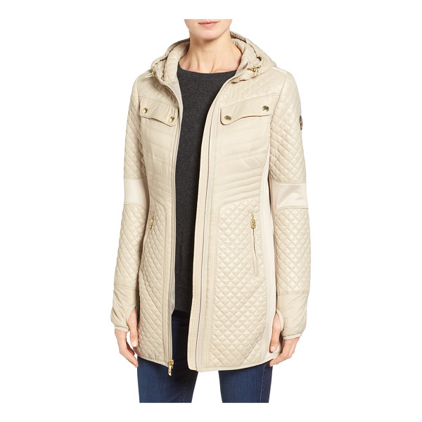 MICHAEL MICHAEL KORS mixed media hooded zip front coat - A classic winter look-a stand-collar anorak-gets an...