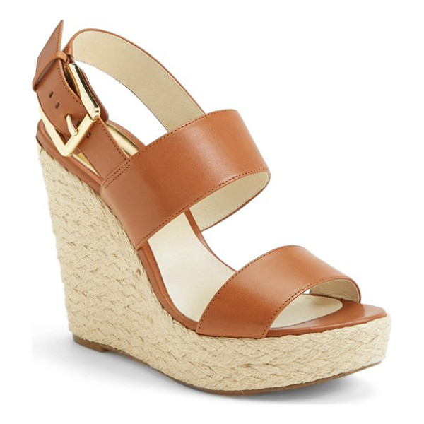 MICHAEL MICHAEL KORS posey espadrille wedge sandal - A strappy leather sandal is elevated by a woven platform...