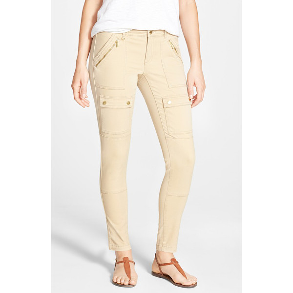 MICHAEL MICHAEL KORS skinny canvas cargo pants - Gleaming goldtone hardware, including ankle zippers, adds...