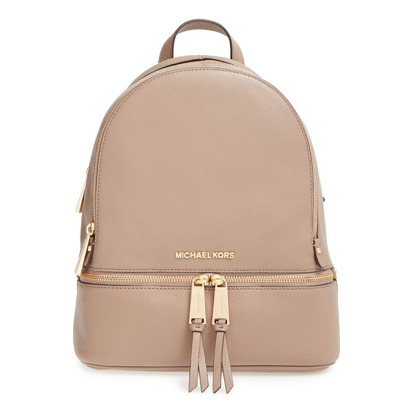 MICHAEL MICHAEL KORS Extra small rhea zip leather backpack - Gleaming exposed zippers illuminate the compact silhouette...