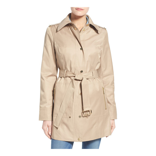 MICHAEL MICHAEL KORS snap front belted trench coat - Gleaming logo hardware puts a signature spin on a polished...