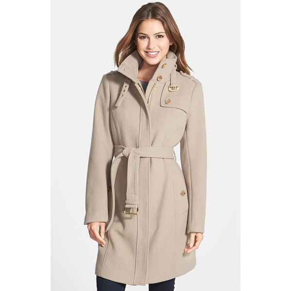 MICHAEL MICHAEL KORS stand collar wool blend trench coat - Military inspiration and gleaming golden hardware provide...