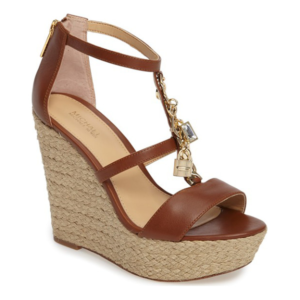 MICHAEL MICHAEL KORS suki platform wedge sandal - A charm-bedecked curb chain boldly traces the T-strap of a...