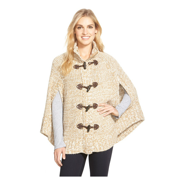 MICHAEL MICHAEL KORS toggle front sweater knit cape - Conjuring up weekends in the country, a mock-neck cape...