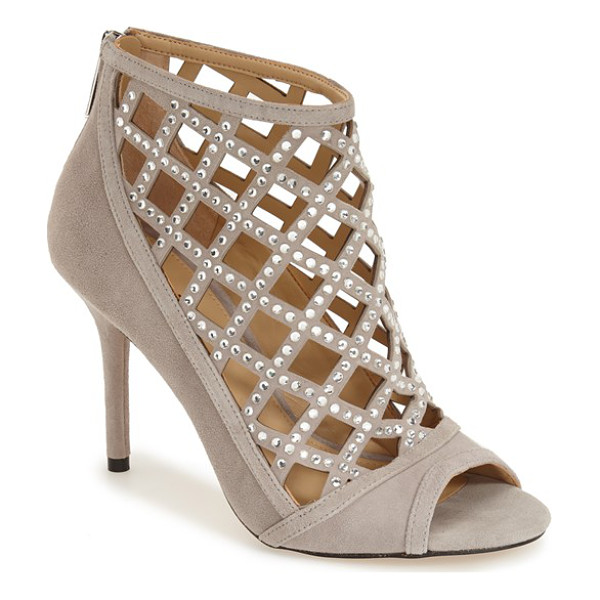 MICHAEL MICHAEL KORS yvonne open toe bootie - Diminutive crystals punctuate the ladylike lattice of a...