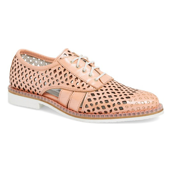 MIISTA rylie cutout oxford - A high-gloss sheen and intricate perforations offer a...