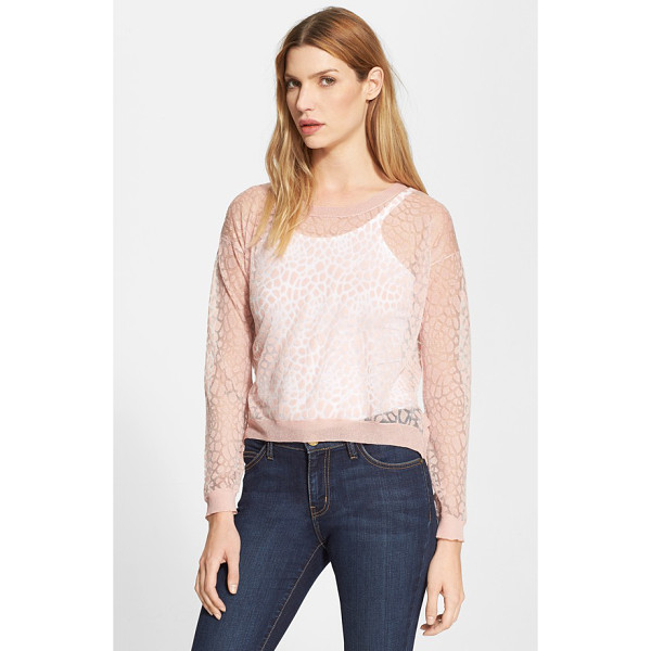 MILLY invisible lace pullover - A gentle, blushing hue tames the burnout-knit, big-cat...