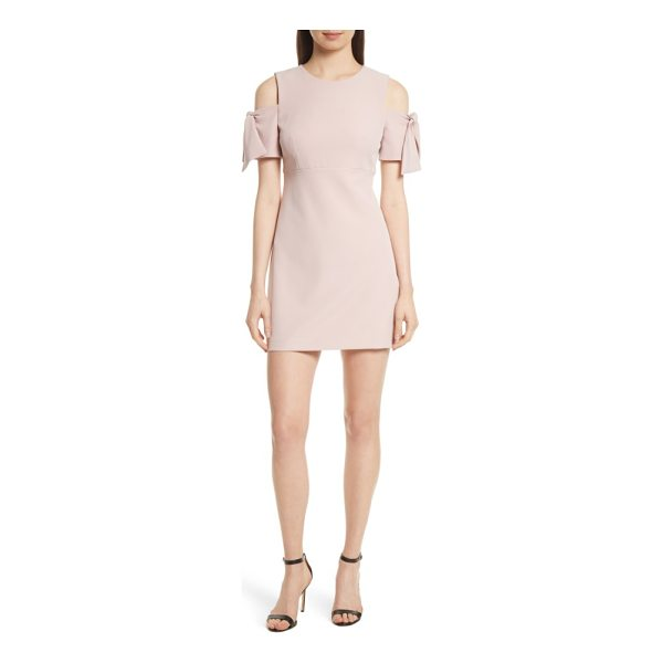 MILLY italian cady mod tie cold shoulder minidress - Flouncy ties at the shoulder-baring sleeves keep the style...