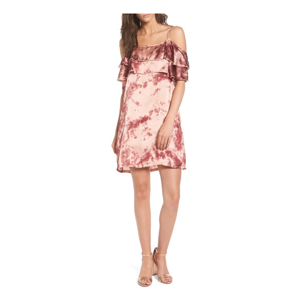 MIMI CHICA print off the shoulder satin dress - Playfully mottled with shades of rose and raspberry, this...