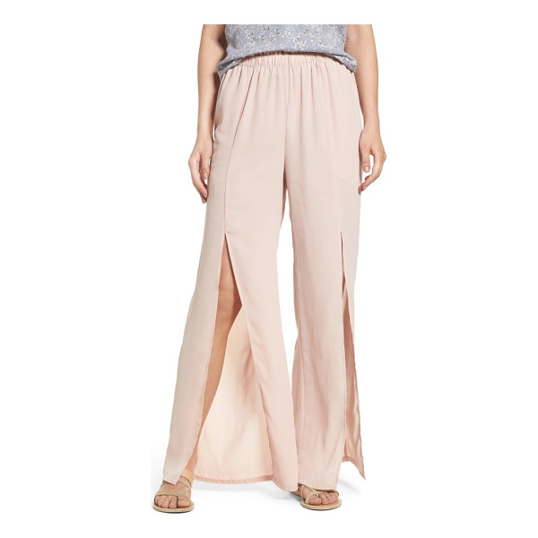MIMI CHICA slit detail pants - Thigh-high front slits release the flowy wide leg of these...