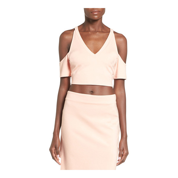 MINKPINK moon child cutout sleeve crop top - Geometric shoulder cutouts relax the silhouette of a deep...