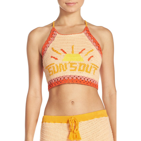 MINKPINK suns out crochet cover-up crop top - On-trend crochet work adds to the sunny charm of this...