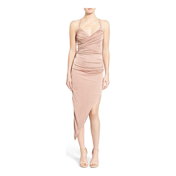MISSGUIDED asymmetrical midi dress - Gentle side ruching defines the bodice and waist of a...