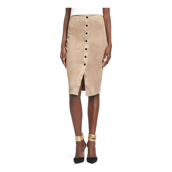 MISSGUIDED button faux suede midi skirt - A row of snap buttons stops mid-thigh, showing a bit of...