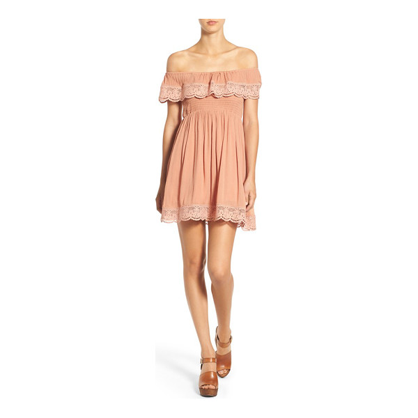 MISSGUIDED crochet trim off the shoulder dress - Scalloped lace trims the ruffled off-the-shoulder neckline...