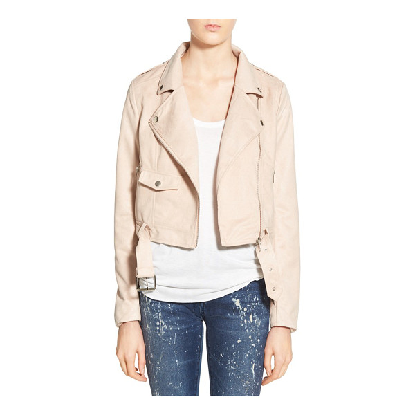 MISSGUIDED crop faux suede moto jacket - Ultra-shiny hardware illuminates the pretty, pale hue of a...