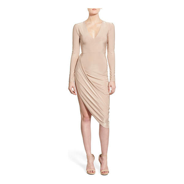 MISSGUIDED drapey asymmetrical long sleeve dress - Flash some serious leg in a barely there stretch-knit dress...