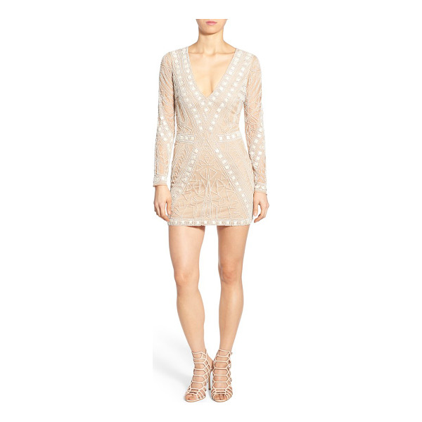 MISSGUIDED embellished plunge shift dress - Scores of glossy beads create a modern geo-inspired motif...