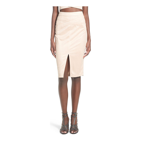 MISSGUIDED faux suede midi skirt - Tonal crisscrossing straps add unexpected detail to a...